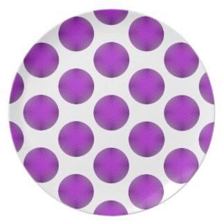 Purple Golf Ball Polka Dot Pattern Plate