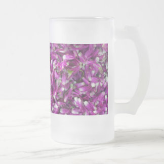 Purple Gomphrena Frosted Glass Beer Mug
