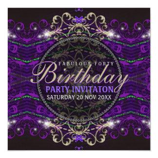"""Purple Goth Deco Lace Fabulous 40 Party Invitation 5.25"""" Square Invitation Card"""