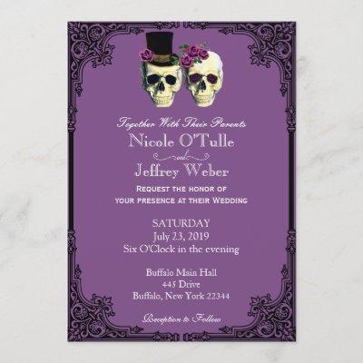 Purple Goth Sugar Skull Wedding Invitation