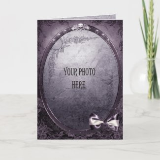 Purple Gothic add your photo Winged Skull Frame card