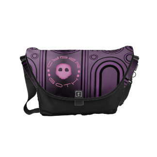 Purple Gothic Cyber Goth Linear Design Small Messenger Bag