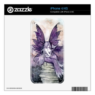 Purple Gothic Fantasy Fairy Art iPhone Skin Decals For The iPhone 4