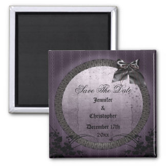 Purple Gothic Frame Save The Date Wedding Refrigerator Magnet