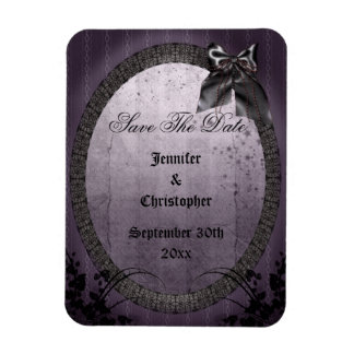 Purple Gothic Frame Save The Date Wedding Vinyl Magnets