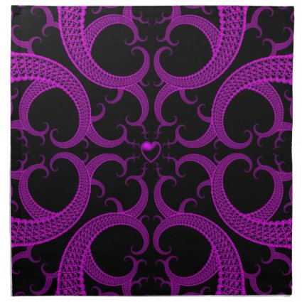 Purple Gothic Heart Fractal Cloth Napkin