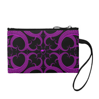 Purple Gothic Heart Fractal Coin Wallet