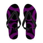 Purple Gothic Heart Fractal Flip Flops