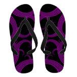 Purple Gothic Heart Fractal Flip-Flops