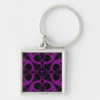 Purple Gothic Heart Fractal Keychain