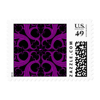 Purple Gothic Heart Fractal Postage