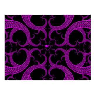 Purple Gothic Heart Fractal Postcard