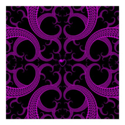 Purple Gothic Heart Fractal Poster