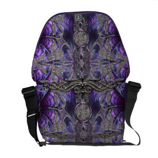 Purple Gothic Messenger Bag with Celtic Symbols