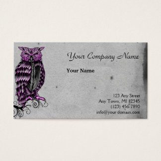 Purple Gothic Owl Illustration Business Card