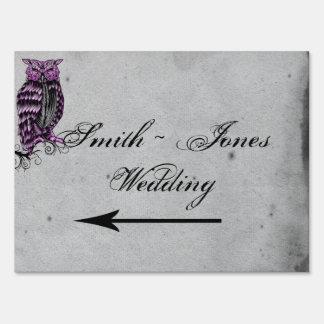 Purple Gothic Owl Posh Direction Sign