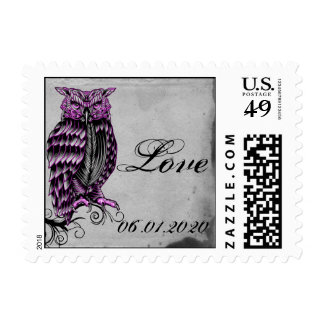 Purple Gothic Owl Posh Postage Stamp