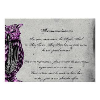 Purple Gothic Owl Posh Wedding Insert Personalized Invites