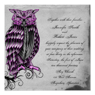 "Purple Gothic Owl Posh Wedding Invitation 5.25"" Square Invitation Card"