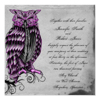 Purple Gothic Owl Posh Wedding Invitation