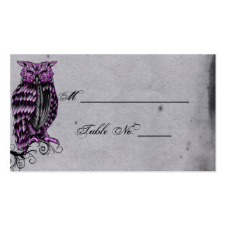 Purple Gothic Owl Posh Wedding Place Cards Business Card Templates