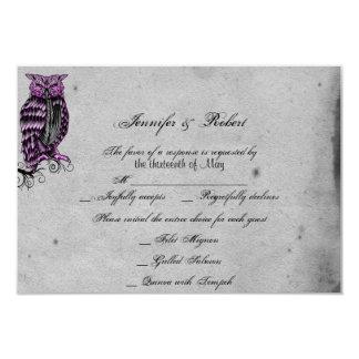 Purple Gothic Owl Posh Wedding Response Card