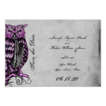 Purple Gothic Owl Posh Wedding Save the Date Card