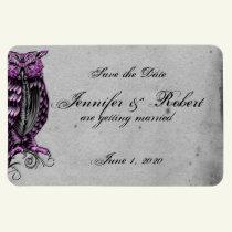 Purple Gothic Owl Posh Wedding Save the Date Magnet