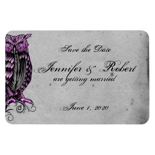 Purple Gothic Owl Posh Wedding Save the Date Rectangle Magnet
