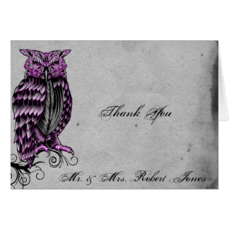 Purple Gothic Owl Posh Wedding Thank You Stationery Note Card