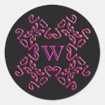 Purple Gothic Scrollwork Pattern Monogram Stickers