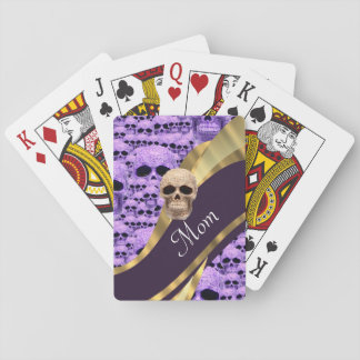 Purple Gothic skull and mom text Card Decks