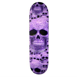Purple gothic skull pattern skateboard