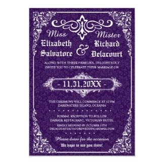 Purple Gothic Victorian Damask Wedding Invites