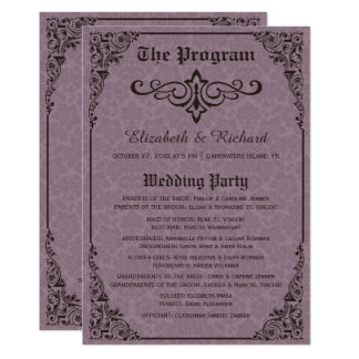 Purple Gothic Victorian Damask Wedding Programs