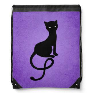 Purple Gracious Evil Black Cat Drawstring Backpack