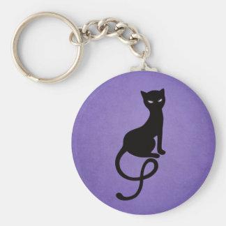Purple Gracious Evil Black Cat Keychain