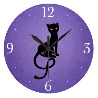Purple Gracious Evil Black Cat Large Clock