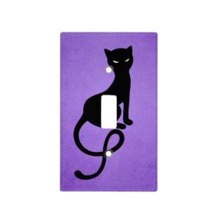 Purple Gracious Evil Black Cat Light Switch Cover
