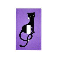 Purple Gracious Evil Black Cat Light Switch Plates