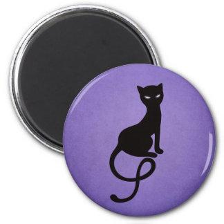 Purple Gracious Evil Black Cat Magnet