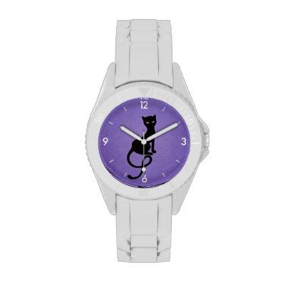 Purple Gracious Evil Black Cat Wristwatch