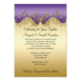Purple Gradient Gold Butterflies 50th Anniversary 5x7 Paper Invitation Card