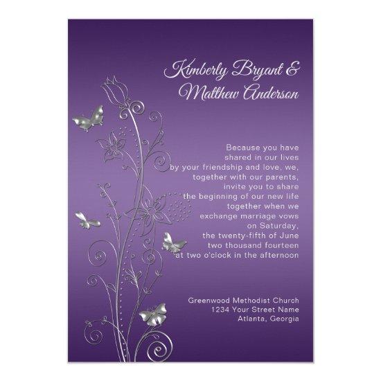 Purple Gradient Silver Ornate Butterflies Wedding Invitation