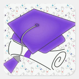 Purple Graduation Cap & Diploma, Colorful Diplomas Square Sticker