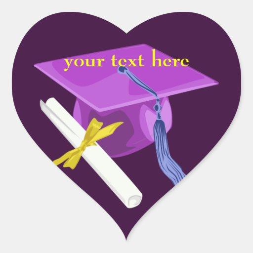 Purple Graduation Cap Heart Stickers
