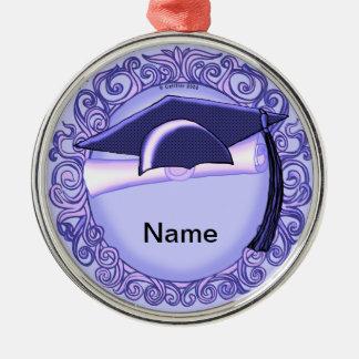 Purple Graduation Cap Metal Ornament