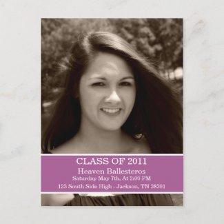 Purple Graduation Class Of Post card Invitation postcard