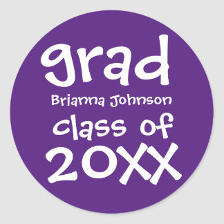Purple Graduation Envelope Seal with White Text