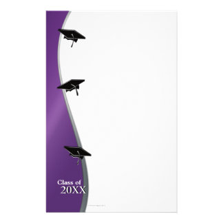 Purple Graduation Note Paper Stationery